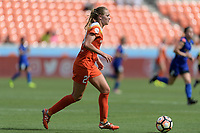 Houston, TX - Saturday May 27, 2017: Cami Privett brings the ball up the field during a regular season National Women's Soccer League (NWSL) match between the Houston Dash and the Seattle Reign FC at BBVA Compass Stadium.