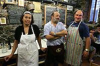 Il personale dell'osteria a Cantina de Mananan a Corniglia, uno dei borghi delle Cinque Terre.<br /> The staff of the restaurant A Cantina de Mananan in Corniglia, at the Cinque Terre, Liguria, Northern Italy.<br /> UPDATE IMAGES PRESS/Riccardo De Luca