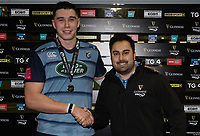 Man of the Match Cardiff Blues' Seb Davies presented by Sam Harries from Guinness<br /> <br /> Photographer Simon King/CameraSport<br /> <br /> Guinness Pro14 Round 6 - Cardiff Blues v Dragons - Friday 6th October 2017 - Cardiff Arms Park - Cardiff<br /> <br /> World Copyright &copy; 2017 CameraSport. All rights reserved. 43 Linden Ave. Countesthorpe. Leicester. England. LE8 5PG - Tel: +44 (0) 116 277 4147 - admin@camerasport.com - www.camerasport.co
