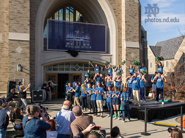 Apr. 11, 2014; Head football coach Brian Kelly leads the unveiling of the 2014 version of 'The Shirt.'<br /> <br /> Photo by Matt Cashore/University of Notre Dame