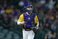 LSU Tigers catcher Alex Milazzo (20) on defense against the Oklahoma Sooners in game seven of the 2020 Shriners Hospitals for Children College Classic at Minute Maid Park on March 1, 2020 in Houston, Texas. The Sooners defeated the Tigers 1-0. (Brian Westerholt/Four Seam Images)