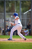 South Dakota State Jackrabbits Colton Cox (12) squares to bunt during a game against the FIU Panthers on February 23, 2019 at North Charlotte Regional Park in Port Charlotte, Florida.  South Dakota State defeated FIU 4-3.  (Mike Janes/Four Seam Images)