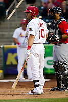 Aaron Luna (10) of the Springfield Cardinals at bat during a game against the Frisco RoughRiders on April 14, 2011 at Hammons Field in Springfield, Missouri.  Photo By David Welker/Four Seam Images.