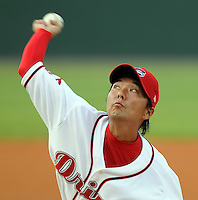 August 13, 2008: RHP Terumasa Matsuo (35) of the Greenville Drive, Class A affiliate of the Boston Red Sox, took a no-hitter into the seventh inning against the Lexington Legends at Fluor Field at the West End in Greenville, S.C. Photo by:  Tom Priddy/Four Seam Images