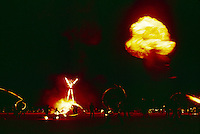 A bonfire marks the culmination of Burning Man as the festival's namesake, a 70-foot plywood and neon figure, ignites the night sky during Labor Day weekend. For the week of Burning Man, Black Rock Desert in northwestern Nevada's Conservation area, becomes one of Nevada's largest cities, attracting tens of thousand of revelers.