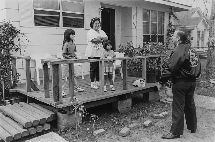 Rep. Gene Green, D-Tex., campaigning door to door on Feb. 21, 1994. (Photo by Chris Martin/CQ Roll Call via Getty Images)