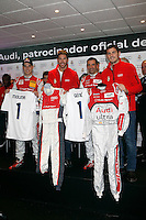 Real Madrid players Iker Casillas, Sergio Ramos and F1 driver Marc Gene participate and receive new Audi during the presentation of Real Madrid's new cars made by Audi at the Jarama racetrack on November 8, 2012 in Madrid, Spain.(ALTERPHOTOS/Harry S. Stamper) .<br />