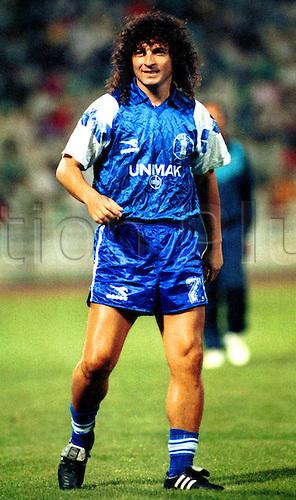 19.08.1990 Greece. The Greek footballer Vassilis Chatzipanagis playing for Panathinaikos against Iraklis on 19.08.1990 in Greece