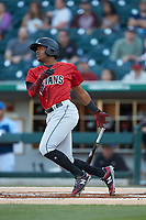 Ke'Bryan Hayes (24) of the Indianapolis Indians follows through on his swing against the Charlotte Knights at BB&T BallPark on April 27, 2019 in Charlotte, North Carolina. The Indians defeated the Knights 8-4. (Brian Westerholt/Four Seam Images)
