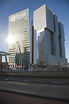 KPN Telecom Building, Rotterdam, Netherlands designed by architect Renzo Piano completed in 2000. Next to it is the new De Rotterdam building nearing completion in 2013.