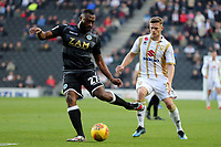 Rhys Healey of MK Dons and Nathan Cameron of Macclesfield Town during MK Dons vs Macclesfield Town, Sky Bet EFL League 2 Football at stadium:mk on 17th November 2018