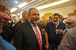 """Israel's Foreign Minister Avigdor Lieberman, during an event celebrating towards the new Hebrew year, held by his party """"Israel Beitenu"""" in Jerusalem, Israel.<br /> <br /> Photo by Ahikam Seri"""