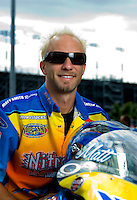 Oct. 31, 2008; Las Vegas, NV, USA: NHRA pro stock motorcycle rider Matt Smith during qualifying for the Las Vegas Nationals at The Strip in Las Vegas. Mandatory Credit: Mark J. Rebilas-