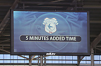 An adi.tv electronic score board displays the addition of five minutes of extra time during the The Emirates FA Cup 3rd Round match between Cardiff City and Fulham at The Cardiff City Stadium, Wales, UK. Sunday 08 January 2017