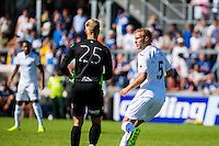 Mike van der Hoorn of Swansea City  in action during the Pre Season friendly match between Swansea City and Rovers played at the Memorial Stadium, Bristol on July 23rd 2016