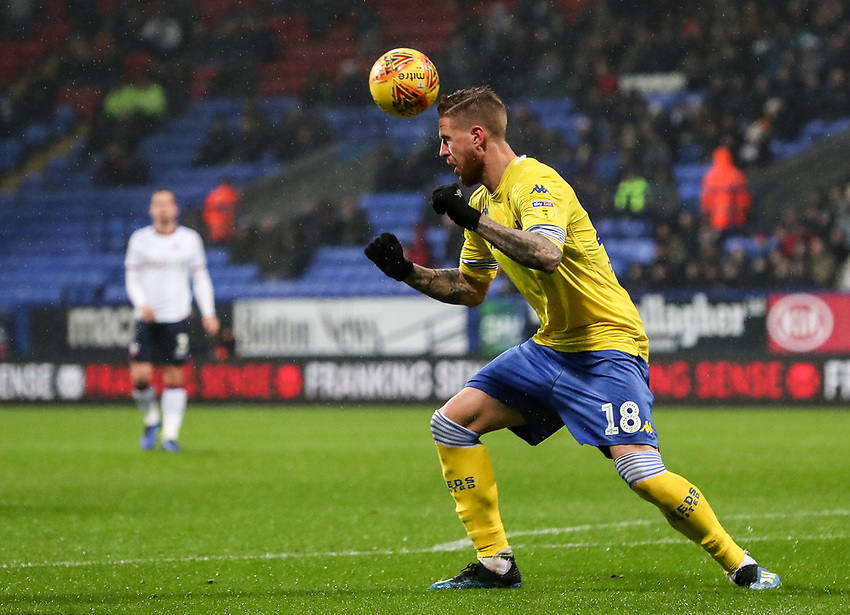 Leeds United's Pontus Jansson clears with a header<br /> <br /> Photographer Andrew Kearns/CameraSport<br /> <br /> The EFL Sky Bet Championship - Bolton Wanderers v Leeds United - Saturday 15th December 2018 - University of Bolton Stadium - Bolton<br /> <br /> World Copyright © 2018 CameraSport. All rights reserved. 43 Linden Ave. Countesthorpe. Leicester. England. LE8 5PG - Tel: +44 (0) 116 277 4147 - admin@camerasport.com - www.camerasport.com