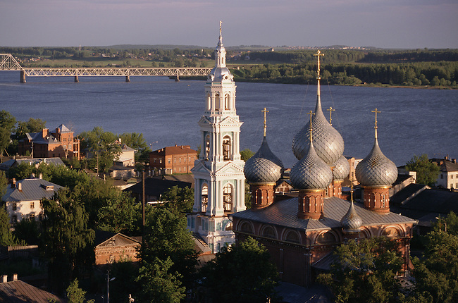 The Russian Orthodox Church of the Resurrection on the bank of the River Volga in Kostroma. Russia.