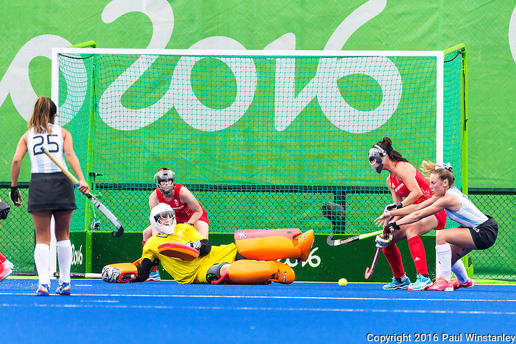 Maddie Hinch #1 of Great Britain makes the save during Argentina vs Great Britain in women's Pool B game  at the Rio 2016 Olympics at the Olympic Hockey Centre in Rio de Janeiro, Brazil.