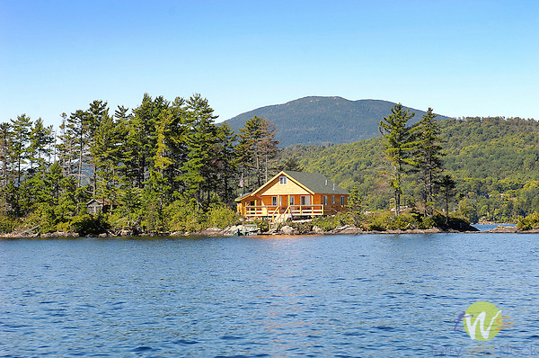 Cabin on island on Moosehead Lake near West Cove Point.