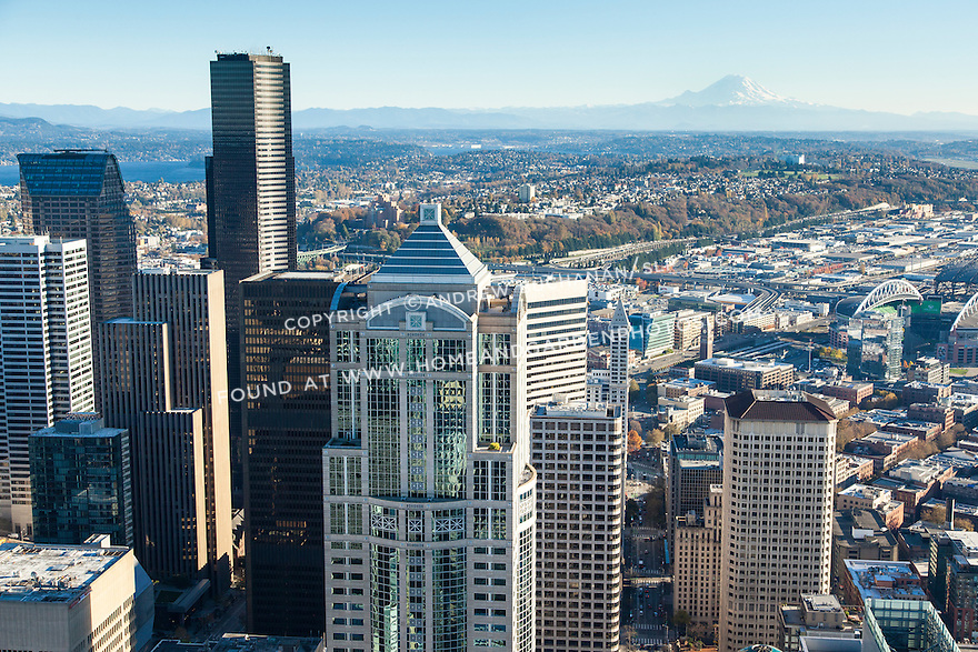 Aerial photo of skyscrapers in downtown Seattle