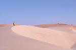 Randonnée en solitaire dans les dunes de l'Amatlich. Mauritanie. Afrique. Lonely trekker in the dunes of the Amatlich. Mauritania. Africa