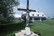 Ile D'Orleans, Quebec City Area, Canada, June 8, 1984. A statue of Jesus.