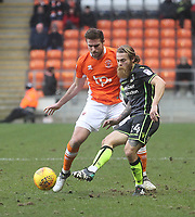 Blackpool's Clark Robertson in action with Bristol Rovers' Stuart Sinclair<br /> <br /> Photographer Mick Walker/CameraSport<br /> <br /> The EFL Sky Bet League One - Blackpool v Bristol Rovers - Saturday 13th January 2018 - Bloomfield Road - Blackpool<br /> <br /> World Copyright &copy; 2018 CameraSport. All rights reserved. 43 Linden Ave. Countesthorpe. Leicester. England. LE8 5PG - Tel: +44 (0) 116 277 4147 - admin@camerasport.com - www.camerasport.com
