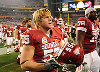 Jan. 1, 2011; Glendale, AZ, USA; Oklahoma Sooners linebacker Jaydan Bird against the Connecticut Huskies in the 2011 Fiesta Bowl at University of Phoenix Stadium. The Sooners defeated the Huskies 48-20. Mandatory Credit: Mark J. Rebilas-.