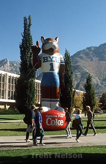 Inflatable Cosmo with caffeine free coke banner at BYU.<br />