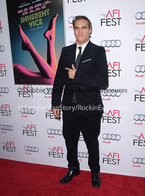 Joaquin Phoenix at The Gala screening of INHERENT VICE at AFI FEST 2014 presented by Audie held at at The Egyptian Theatrein Hollywood, California on November 08,2014                                                                               © 2014 Hollywood Press Agency