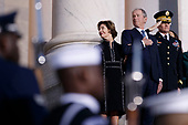 Former US President George W Bush and former First Lady Laura Bush look on as a joint service members of a military casket team carry the casket of former President George H. W. Bush into the US Capitol, where he will lie in state until Wednesday morning in Washington, DC, USA, 03 December 2018. Bush will lie in state in the Capitol Rotunda before his state funeral at the Washington National Cathedral 05 December. George H.W. Bush, the 41st President of the United States (1989-1993), died at the age of 94 on 30 November 2018 at his home in Texas