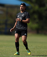 PRETORIA, SOUTH AFRICA - OCTOBER 05: Richie Mo'unga of the New Zealand (All Blacks) during the Rugby Championship New Zealand All Blacks captain's run at St David's Marist Inanda in Sandown, South Africa on Friday, October 5, 2018. Photo: Steve Haag / stevehaagsports.com