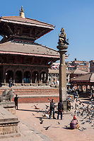 Nepal, Patan.  Garuda Statue and Vishwanath Temple, February 18, 2009.  The temple and the statue survived the April 2015 earthquake.