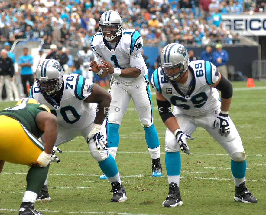 JORDAN GROSS, of the Carolina Panthers, in action during the Panthers game against the Green Bay Packers on September 18, 2011 at Bank of America Stadium in Charlotte, NC. The Packers beat the Panthers 30-23.