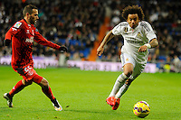 Real Madrid´s Marcelo Vieira and Sevilla's Aleix Vidal during 2014-15 La Liga match between Real Madrid and Sevilla at Santiago Bernabeu stadium in Alcorcon, Madrid, Spain. February 04, 2015. (ALTERPHOTOS/Luis Fernandez) /NORTEphoto.com