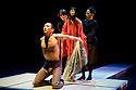 "05/11/2010. Young Sasuke (Songha Cho) is in the mood for love as Shun-Kin (Puppeteers Eri Fukatsu, Junko Uchida, Yasuyo Mochizuki) approaches. Complicite present ""Shun-Kin"" at the Barbican, London. Directed by Simon McBurney, based on the writings of Jun'ichiro Tanizaki."