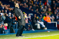 29th December 2019; The Hawthorns, West Bromwich, West Midlands, England; English Championship Football, West Bromwich Albion versus Middlesbrough; West Bromwich Albion Head Coach Slaven Bilic reacts to a mistake by his team - Strictly Editorial Use Only. No use with unauthorized audio, video, data, fixture lists, club/league logos or 'live' services. Online in-match use limited to 120 images, no video emulation. No use in betting, games or single club/league/player publications