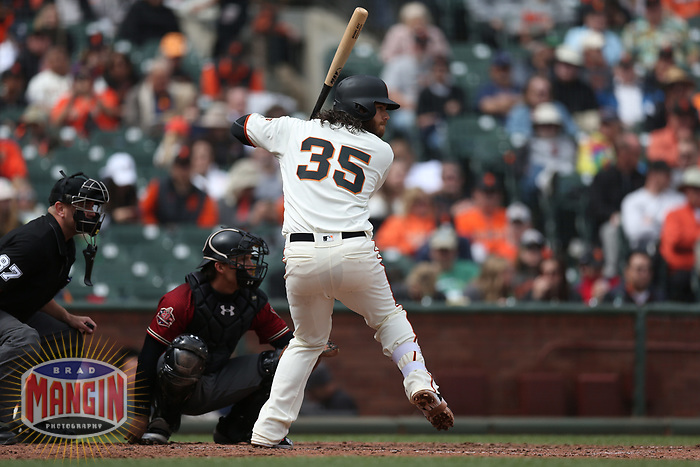 SAN FRANCISCO, CA - APRIL 11:  Brandon Crawford #35 of the San Francisco Giants bats against the Arizona Diamondbacks during the game at AT&T Park on Wednesday, April 11, 2018 in San Francisco, California. (Photo by Brad Mangin)