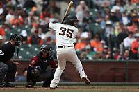 SAN FRANCISCO, CA - APRIL 11:  Brandon Crawford #35 of the San Francisco Giants bats against the Arizona Diamondbacks during the game at AT&T Park on Wednesday, April 11, 2018 in San Francisco, California. (Photo by Brad Mangin)
