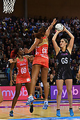 7th September 2017, Te Rauparaha Arena, Wellington, New Zealand; Taini Jamison Netball Trophy; New Zealand versus England;  Silver Ferns Te Paea Selby-Rickit shooting as Englands Geva Mentor attempts to block