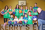 SUMMER CAMPS: Coach Billy McGaley (front right) announcing details of basketball summer camps at venues around Kerry, pictured at Ballymacelligott Community Centre on Friday with players, front l-r: Sean Rice, Niamh Rice, Evan O'Brien, Harry Luck, Eoin Creedon. Back l-r: Cáit Rice, Millie Luck, Danielle O'Donoghue, Áine Rice, Emily O'Brien, Eve Creedon, Kelly Anne Ahern.