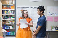 NWA Democrat-Gazette/CHARLIE KAIJO AP Seminar teacher Mary Parker (left) talks to Samuel Hernandez, 16, about his research project during her AP Seminar class, Thursday, October 3, 2019 at Heritage High School in Rogers. <br /> <br /> The Rogers School District this year began offering the AP Capstone Diploma program, which is built on two AP courses: AP Seminar and AP Research. The program is viewed as an opportunity to develop students' critical thinking, research and presentation skills.
