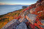 Sunrise view in autumn from the rocky cliffs of Gorham Mountain, Acadia National Park, Maine, USA