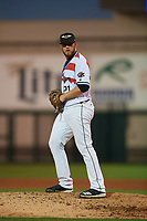 Lakeland Flying Tigers relief pitcher Jake Thompson (35) during a Florida State League game against the Fort Myers Miracle on August 3, 2019 at Publix Field at Joker Marchant Stadium in Lakeland, Florida.  The Flying Tigers wore special jerseys honoring Roberto Clemente with his number and the flag from Puerto Rico on front.  Lakeland defeated Fort Myers 4-3.  (Mike Janes/Four Seam Images)