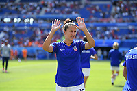 DECINES-CHARPIEU, FRANCE - JULY 07: Carli Lloyd #10 warming up prior to the 2019 FIFA Women's World Cup France Final match between Netherlands and the United States at Groupama Stadium on July 07, 2019 in Decines-Charpieu, France.