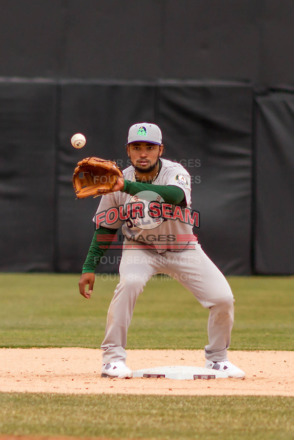 Beloit Snappers infielder Jesus Lopez (7) takes a throw at second base during a Midwest League game against the Wisconsin Timber Rattlers on April 10th, 2016 at Fox Cities Stadium in Appleton, Wisconsin.  Wisconsin defeated Beloit  4-2. (Brad Krause/Four Seam Images)