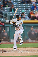 Michael Hermosillo (6) of the Salt Lake Bees bats against the Sacramento River Cats at Smith's Ballpark on April 19, 2018 in Salt Lake City, Utah. Salt Lake defeated Sacramento 10-7. (Stephen Smith/Four Seam Images)