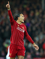 2nd January 2020; Anfield, Liverpool, Merseyside, England; English Premier League Football, Liverpool versus Sheffield United; Virgil van Dijk of Liverpool shouts instructions to Joe Gomez of Liverpool - Strictly Editorial Use Only. No use with unauthorized audio, video, data, fixture lists, club/league logos or 'live' services. Online in-match use limited to 120 images, no video emulation. No use in betting, games or single club/league/player publications