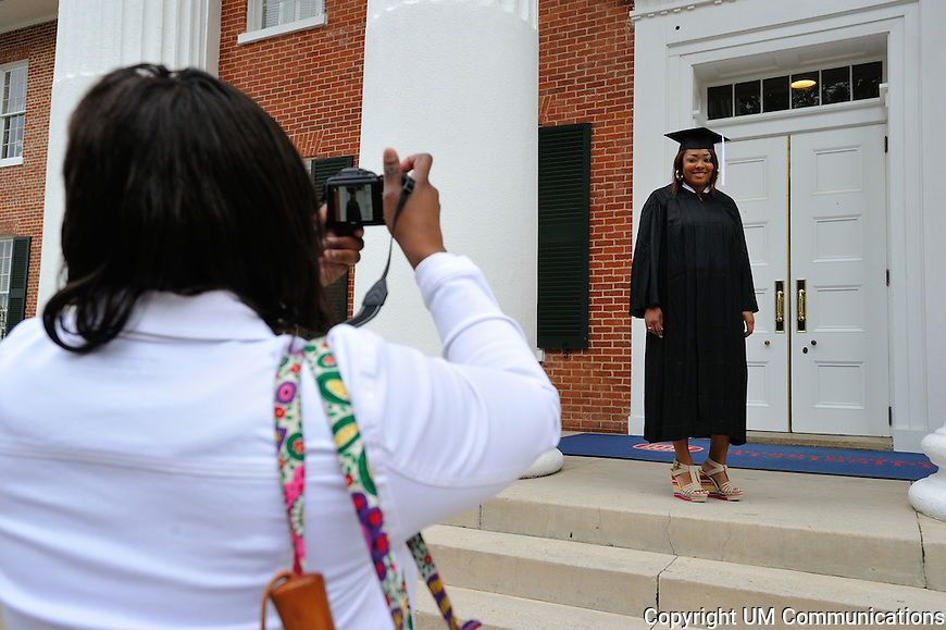 Mom & Daughter taking photo on lyceum  .Kanesha Mcallister, Pelahatchie, MS (RANKIN).Photo by Robert Jordan/Ole Miss Communications