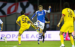 St Johnstone v Eskisehirspor....18.07.12  Uefa Cup Qualifyer.Murray davidson tackles Gucer Hurriyet.Picture by Graeme Hart..Copyright Perthshire Picture Agency.Tel: 01738 623350  Mobile: 07990 594431
